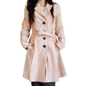 H&M Pale Pink Belted Button Up Trench Coat